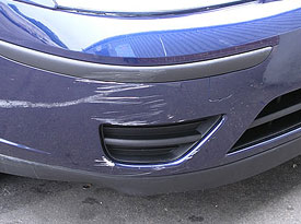 Scratches on a Focus Bumper.