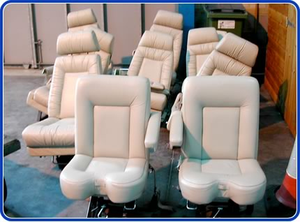 aeroplane seats in hangar