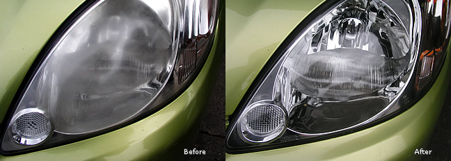 Hazy and dull headlight polishing.