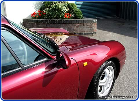 Buffing the car brings back the colour and gives it a deep shine.