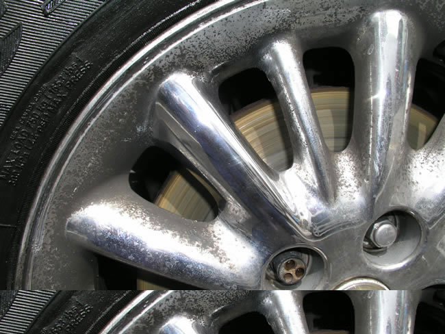 Chrysler Chrome Wheel tarnished with black corrosion.